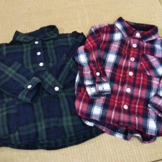 ムジルシリョウヒン(MUJI (無印良品))の無印良品 チェックシャツ2枚セット  90サイズ(Tシャツ/カットソー)
