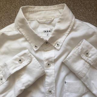 イッカ(ikka)のikka◆ボタンダウンシャツS◆イッカ長袖白ホワイトwhite(シャツ)