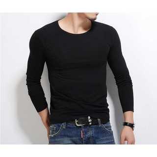 黒ロンTシャツ 長袖Tシャツ 丸首 インナー フリーサイズ 韓国ファッション(Tシャツ/カットソー(七分/長袖))