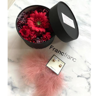 フランフラン(Francfranc)の新品 フランフラン ボックスフラワー ドライフラワー フェザー ピアス ファー(ピアス)