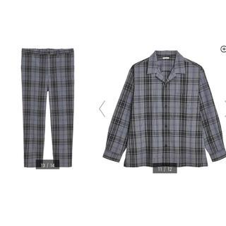 ジーユー(GU)のGU イージーアンクルパンツ オープンカラーシャツ チェック セットアップ(セットアップ)