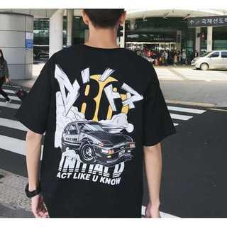 イニシャルD黒Tシャツ 頭文字D ブラック バックプリント ロゴTシャツ(Tシャツ/カットソー(半袖/袖なし))
