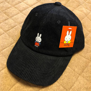 しまむら - しまむら miffy ミッフィー キャップ帽子 黒 ブラック コーデュロイ 新品