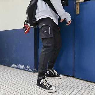 カーゴパンツ 黒 フリーサイズ メンズ カジュアル ストリート(ワークパンツ/カーゴパンツ)