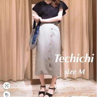 テチチ(Techichi)の【新品】Techichi タイトスカート M ネイビー 前ボタン ウエストゴム(ひざ丈スカート)