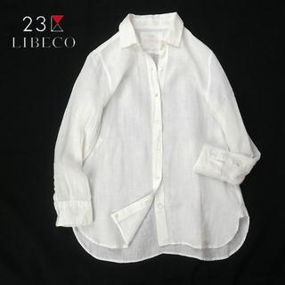 23区 - 23区×LIBECO ホワイトリネンシャツ/9分袖/麻100%