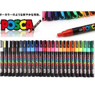 三菱鉛筆 ポスカ 水性サインペン 細字丸芯 PC-3M 全24色セット