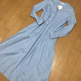 PLST - ストライプシャツワンピース 水色 ライトブルー