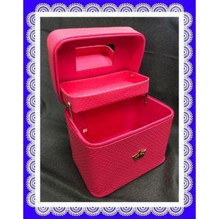 レディース メイクボックス 大容量 ピンクレッド(メイクボックス)