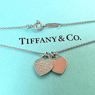 Tiffany & Co. - ティファニー ミニダブルハート タグ ペンダント ネックレス ピンク