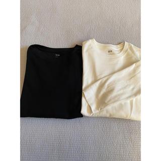 ユニクロ(UNIQLO)のユニクロソフトタッチクルーネックT2枚セット白黒Lサイズ(Tシャツ/カットソー(七分/長袖))