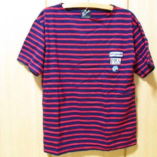 スポットライト ワッペン付きボーダーTシャツ Mサイズ ブラック×レッド(Tシャツ/カットソー(半袖/袖なし))