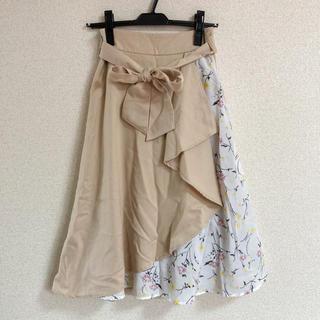 イング(INGNI)のINGNI 花柄切替ラッフルミディ/スカート(ひざ丈スカート)