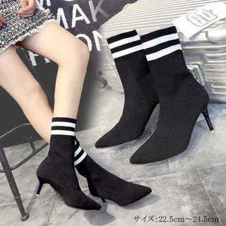 ソックスブーツ レディース ヒール 靴 ショートブーツ ブラック(ハイヒール/パンプス)