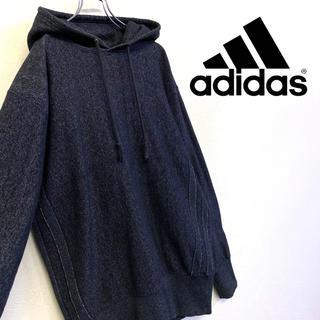 adidas - 美品 adidas スウェットパーカー ノイズ柄 ブルーグレー系
