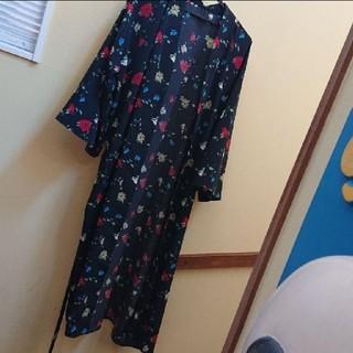 ジーナシス(JEANASIS)のレディース ジーナシス 花柄 羽織 ロングカーディガン 美品(カーディガン)
