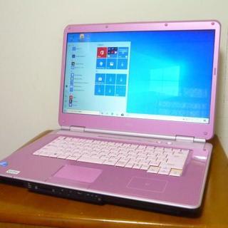 エヌイーシー(NEC)の希少可愛いピンクカラー 16型ワイド大画面 HDD500G 最新win10(ノートPC)