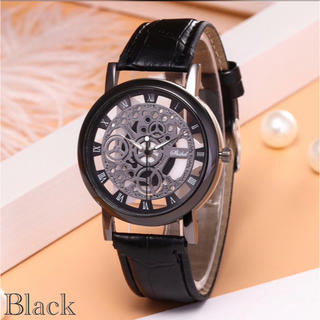 腕時計 メンズ ステンレス レザー 革 ベルト ウォッチ ギリシャ ブラック(腕時計(アナログ))