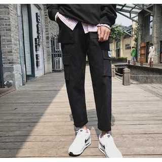メンズ夏服【M】白Tシャツと相性◎韓国ファッション◎カーゴパンツ黒新品(ワークパンツ/カーゴパンツ)