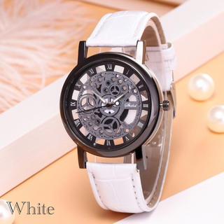 腕時計 メンズ ステンレス レザー 革 ベルト ウォッチ ギリシャ ホワイト(腕時計(アナログ))