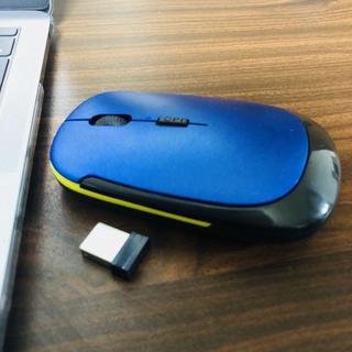 ワイヤレス デザインマウス ブルー&イエローライン