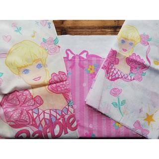 バービー(Barbie)のビンテージシーツ Barbie カフェカーテン ピロケース カットシーツ(生地/糸)