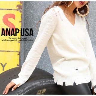 ANAP - ANAP USA♡    Vネックダメージニットトップス