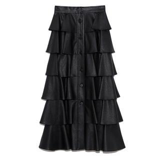 ファーファー(fur fur)のフェイクレザーフリルスカート BLK ブラック 黒(ロングスカート)