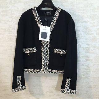 CHANEL - CHANEL ツイード パール 黒 スーツ テーラードジャケット 36