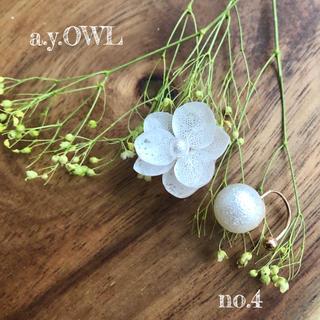 紫陽花White*パールイヤーカフセット(イヤリング)