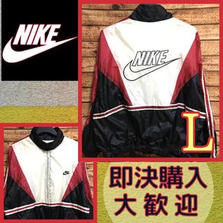 NIKE - NIKE ナイキ メンズ ナイロンジャケットビッグロゴ 刺繍ロゴ 古着 赤×黒