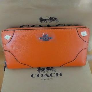 COACH - COACH長財布 オレンジレザーラウンドファスナー