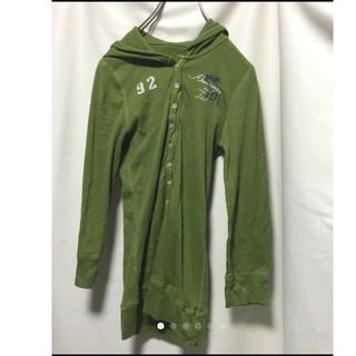 アバクロンビーアンドフィッチ(Abercrombie&Fitch)の849  アメリカ古着   長袖  ロンT  フード付き イエローグリーン(Tシャツ(長袖/七分))