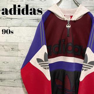 adidas - 【激レア】アディダスオリジナルス☆ビッグロゴ サイドライン パーカー 90s