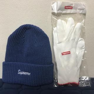 シュプリーム(Supreme)のsupreme/ニット帽/ビーニー/ネイビー青(ニット帽/ビーニー)