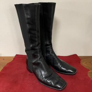 PRADA - PRADA  プラダ サイドゴアロングブーツ ブラック スムースレザー