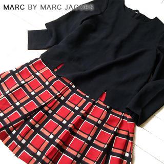 マークバイマークジェイコブス(MARC BY MARC JACOBS)の超美品 (USサイズ)XS マークバイマークジェイコブス チェックワンピース(ミニワンピース)