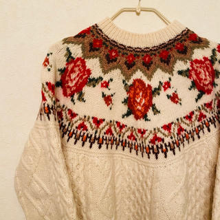 トゥデイフル(TODAYFUL)の♡vintage rose knit♡ フィッシャーマンニット アランニット(ニット/セーター)