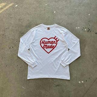 A BATHING APE - ホワイト  HUMAN MADE ネービー メンズ サイズM 長袖Tシャツ