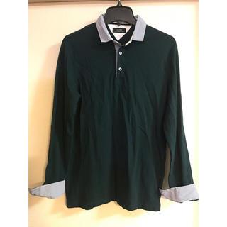 ザラ(ZARA)のZARA 襟袖ストライプ エルボーパッチポロシャツ S グリーン 深緑(ポロシャツ)
