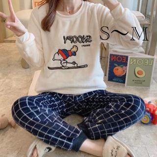 ふわもこパジャマ スヌーピーチェック S~M(パジャマ)