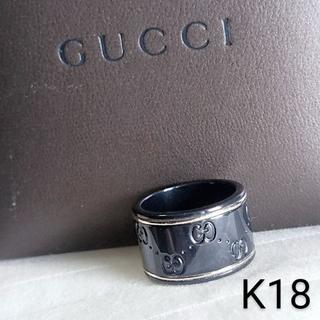 Gucci - グッチ☪️ k18 ホワイトゴールド GGアイコン ブラックコランダム リング