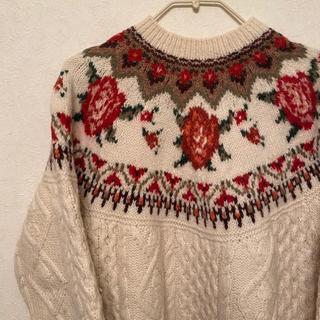 Lochie - ♡vintage rose knit♡ フィッシャーマンニット アランニット