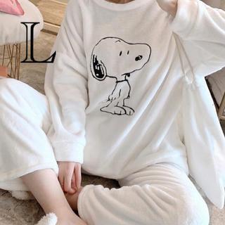 ふわもこパジャマ スヌーピー白バッグ付き Lサイズ(パジャマ)