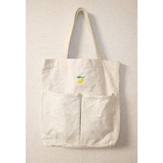 MUJI (無印良品) - 無印良品 インド綿縦型マイトートバッグ[生成/刺繍入]