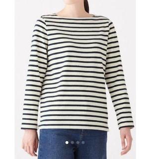 MUJI (無印良品) - 無印良品 オーガニックコットン太番手ボーダー長袖Tシャツ婦人M・白×黒