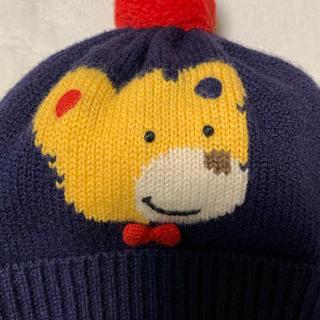 ミキハウス(mikihouse)の美品 ミキハウス ニット帽 ポンポン付き ベビー用 小さめ(帽子)