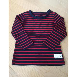 ニッセン(ニッセン)の期間限定*赤×ネイビーボーダーロンT*100サイズ(Tシャツ/カットソー)