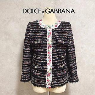 DOLCE&GABBANA - DOLCE&GABBANA 20万 ツィード 花柄 ノーカラー ジャケット ロゴ