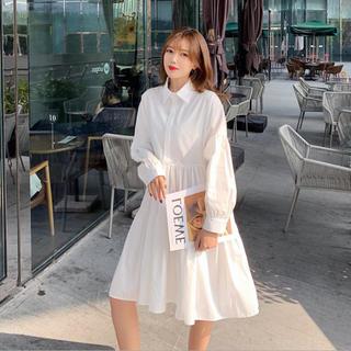 Aライン シャツワンピース  ワンピース ホワイト 白 ZARA GU など♡